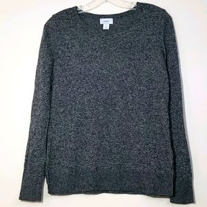 Old Navy Women's Classic Crew Black Marled Sweater